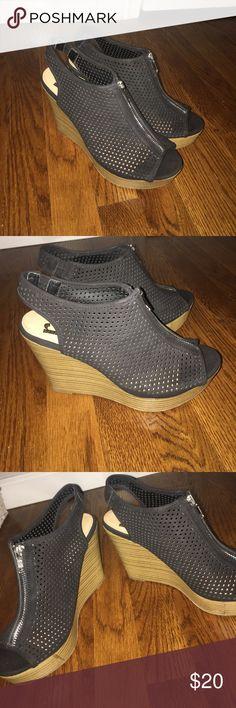 Black Mesh Top Wedges Super comfy zip up heels. Back is elastic to ensure a good fit. Shoes Wedges
