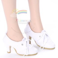 LaceUp High Heel Pumps Sneakers Shoes White for 22 by Releaserain, $25.99