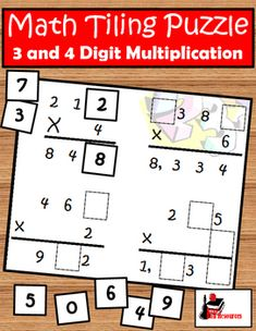"Are you looking for a creative new way to have your students practice multiplication?  Try Tiling!  In Tiling activities, students will use the provided ""digit tiles"" to place the numbers 0 - 9 to fill in the holes left in provided multiplication equations."