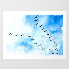 "Gefällt 55 Mal, 11 Kommentare - Natasha Shiggaon | Artist (@sherbetpaperco) auf Instagram: ""My absolute favorite painting and print in my @society6 Shop. This Flight formation in blue skies…"""