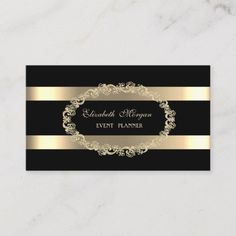 Shop Elegant Modern,Black,Gold Frame Striped Business Card created by Biglibigli. Beauty Business Cards, Salon Business Cards, Gold Business Card, Makeup Artist Business Cards, Elegant Business Cards, Business Card Design, Name Card Design, House Of Beauty, Glamour