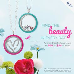 Origami Owl June Specials and Origami Owl Summer 2017 collection featuring pink and teal living locket faces and new summer charms! Click to shop and email kristy@foreversparkly.com for a free gift!