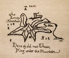 The Hobbit Embroidered Map of the Lonely Mountain