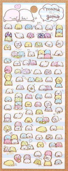 cute Mamegoma Baby seals glitter stickers San-X