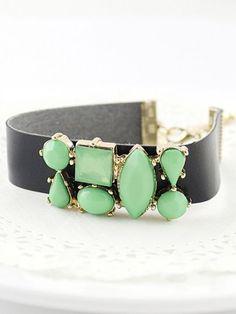 Green Gemstone Black Leather Bracelet