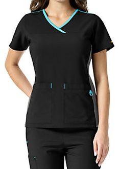 Carhartt Cross-Flex Active Contrast Trim Y-neck Scrub Tops Uniform Design, Scrub Tops, Carhartt, V Neck Tops, Scrubs, Contrast, Caregiver, Dental, Shopping