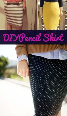 15 minute diy pencil skirt, maybe minus the polka dots Sewing Hacks, Sewing Tutorials, Sewing Projects, Sewing Patterns, Sewing Ideas, Diy Clothing, Sewing Clothes, Work Clothes, Pencil Skirt Tutorial