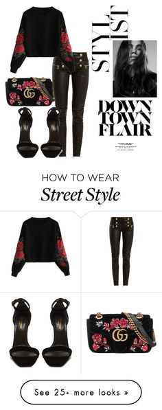 """Dark Florals Winter Street Style"" by nikiparish on Polyvore featuring Gucci, Balmain, Yves Saint Laurent, StreetStyle and darkflorals"