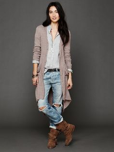 Free People Ribbed Up Maxi Cardigan at Free People Clothing Boutique Adrette Outfits, Casual Fall Outfits, Spring Outfits, Fashion Outfits, Casual Clothes, Maxi Cardigan, Long Cardigan, Free People Clothing, Love Fashion