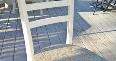 AFTER: Remember these I found & rescued from the curb? I removed their seats & set about repairing the banged-up wood w... Wood, Ladder, Diy Furniture, Diy Furniture Chair, Ladder Back Chairs, Settings, Furniture Chair