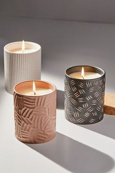 Shop Raw Clay Collection Candle at Urban Outfitters today. Tea Candles, Home Candles, Soy Wax Candles, Pillar Candles, Scented Candles, Homemade Candles, Candle Chandelier, Candle Lamp, Candle Wall Sconces