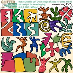 Henri Matisse Collage Cut Out Shapes for Little Artists Clipart - Art History #matisse