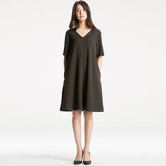 WOMEN MILANO RIBBED V-NECK DRESS, DARK GREEN