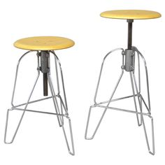 Pair of Industrial Chic Steel and Wood Adjustable Bar Stools | From a unique collection of antique and modern stools at http://www.1stdibs.com/furniture/seating/stools/