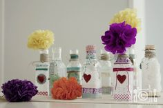 Botellas y Flores de papel