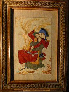 Persian Safavid Miniature Manuscript Hand Painted Art Signed By Artist – Designer Unique Finds