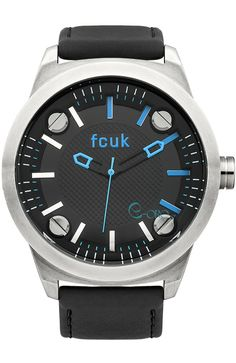 French Connection Men's Quartz Watch with Black Dial Analogue Display and Black Leather Strap French Connection, Casio Watch, Quartz Watch, Omega Watch, Rolex Watches, Black Leather, Display, Accessories, Collection