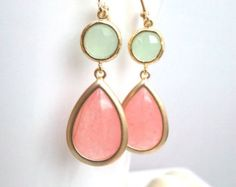 LABOR DAY SALE!! Coral Pink Gold earrings, Blush Pink Wedding Earrings, Drop, Dangle earrings, bridesmaid gifts, Gemstone,Wedding jewelry