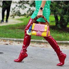 Repost by @precoutureofficiel @miumiu dress&bag @dior boots