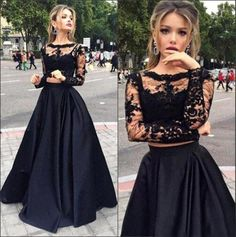 Popular Two Pieces Cheap Black Lace and Satin Prom Dresses 2016 A Line Sheer Crew Neck Long sleeves Appliques Floor Length Evening Gowns