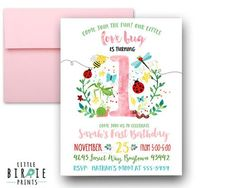 BUG Invitation BUG Birthday invitation Bug by littlebirdieprints