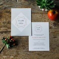 Faire-part de mariage Domitille et Charles / Event of Paper Faire Part Simple, 75th Birthday Invitations, Wedding Stationery, Wedding Invitations, Carton Invitation, First Event, Place Card Holders, Communion, Geometric Wedding