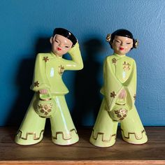 Fabulous 1950s ceramic Asian man and woman figurines in Etsy. I wish I had taken photos of the house these came from. The decor was right out of a 50s Better Homes and Gardens magazine. ✨ Floral Hair, Etsy Shipping, Better Homes, Asian Men, Men And Women, Hats For Men, 1950s, Cover Up, Gardens