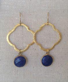 Lapis and Vermeil Quatrefoil Clover Earrings by trebelladallas, $42.00