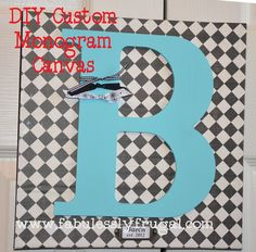 DIY Custom Monogram Canvas Tutorial: Perfect for a Wedding or bridal shower gift.  Cute and easy to customize!  http://fabulesslyfrugal.com/2012/04/diy-monogram-canvas-picture-tutorial.html