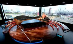In Setsquare Staging produced bespoke furniture for BBC Sport's TV coverage of the Olympic Games and the Cisco House at Westfield Stratford City. Tv Set Design, Stage Set Design, Set Design Theatre, Booth Design, Event Design, Studio Setup, Studio Design, Virtual Studio, Arquitetura
