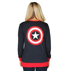 ThinkGeek :: Captain America Logo Ladies' Cardigan FOR THE HERO IN ALL OF US Button-up cardigan features winged A logo Cap's shield is on the back Lightweight for year-round use