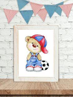 Teddy Bear Nursery Art, Animal Nursery Print, Children Art Print, Kids Wall Art, Baby Boy Nursery Decor by SweetBabyArt on Etsy