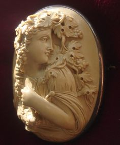HUGE Rare MUSEUM quality Antique Victorian Hand carved Lava Cameo from joycameocollector on Ruby Lane