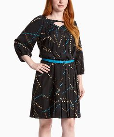 Look at this #zulilyfind! Black & Blue Belted Accordion Dress - Women #zulilyfinds