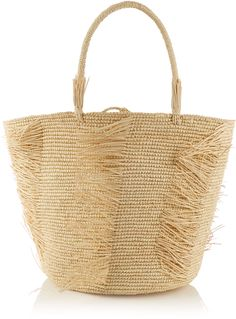 SENSI STUDIO Frayed woven-straw tote