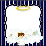 Marmita Batizado Menino Azul Marinho e Branco