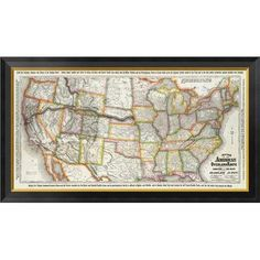 Global Gallery New Map of the American Overland Route, 1879 Framed Graphic Art on Canvas Size: