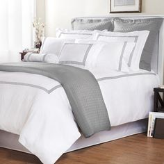 Add classy comfort to your bedroom decor with this cotton sateen Baratto duvet cover set. This white duvet cover set is highlighted with ecru embroidered stripes. Grey And White Bedding, White Bedroom, Grey Duvet, Blue Comforter, Gray Bedding, Striped Bedding, Rustic Bedding, Boho Bedding, King Comforter