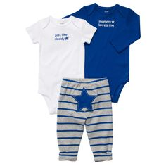 3-piece pull-on pant set  Get two cute outfits for one great value. The pants have adorable turn-me-around art and looks oh-so cute.  2-in-1 set includes short- and long-sleeve bodysuits and pants for easy outfitting  8 different outfit themes to choose from $12 each at Carters.com
