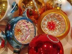 Set of 18 Boxed Vintage Mercury Glass Ornaments - Made in Poland - Mid Cenury Modern Con Caved Glass Christmas Decorations Glass Christmas Decorations, Glass Ornaments, Handmade Shop, Handmade Items, Handmade Gifts, Vintage Christmas, Christmas Time, Mercury Glass, How To Make Ornaments