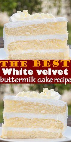 The best White velvet buttermilk cake recipe White velvet cake gets it's flavor and velvety texture from buttermilk. A moist, tender cake th. Köstliche Desserts, Healthy Dessert Recipes, Chocolate Desserts, Baking Recipes, White Desserts, Dessert Cake Recipes, Food Cakes, Cupcake Cakes, Buttermilk Cake Recipe