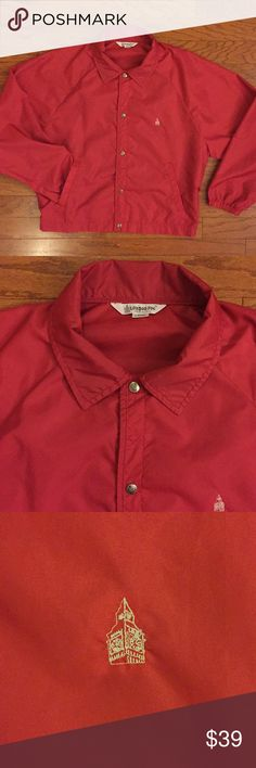 """Vintage London Fog Coach Style  Jacket Very Good Condition, gently worn, red color, with a white London Fog logo stitched on the left chest, logo engraved snap style buttons, made of 100% nylon material, very lightweight, men's size large, approximate measurements are 26"""" armpit to armpit, 26-1/2"""" top to bottom, Great Looking Jacket with really nice detail! Bundle for an Extra Discount! London Fog Jackets & Coats Windbreakers"""