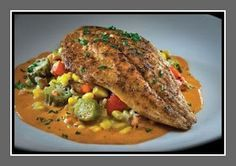 Recipe Spy: Harry's Seafood Bar and Grille: Blackened Redfish Maque Choux Recipe