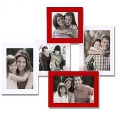 "Adeco Decorative White/Red Wood Wall Hanging Collage Picture Photo Frame, 5 Openings, 4x6"", 4x4"""