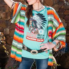 Trend Report: Top 5 Western Trends for Summer from the Pinto Post - Double D Ranch Serape Kimono