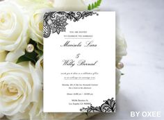 Printable Wedding invitation template Vintage Black lace pattern by Oxee , DIY , print yourself