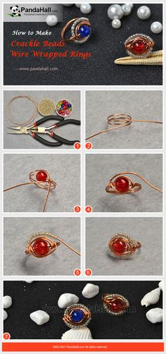 How to Make Crackle Beads Wire Wrapped Rings Wrap the copper wire into a loop ring base, thread a crackle bead and wrap the wire into two circles around the bead and then string some silver seed beads onto the wire and wrap the wire to fasten. It is a easy jewelry craft!