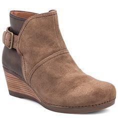 Dansko Shirley Suede Taupe Boots - HappyFeet.com