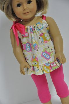 American Girl Doll Clothes Cute Owl  Print Summer by CircleCSewing