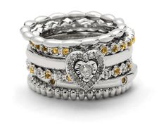 @stackableexpres Ring Stack Accented with Citrine